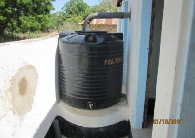 Rainwater barrel, used to water gardens